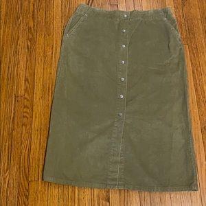 Levi's Velvet Feel Snap Button Green Skirt